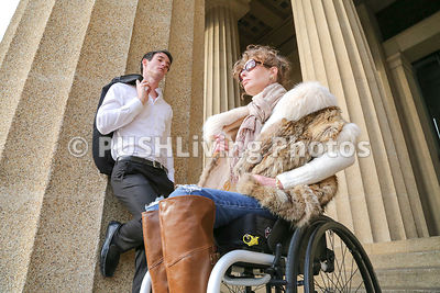 Portrait Of Man And Woman In Wheel Chair at Nashville's Pathenon