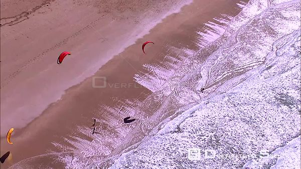 Aerial of kite surfers in the sea. Eastern Cape South Africa