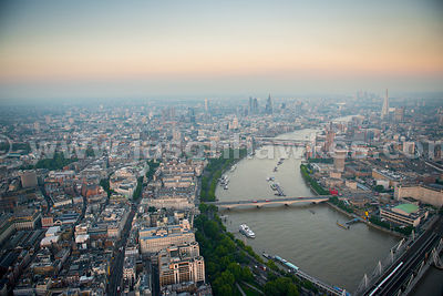 Aerial view of the River Thames at dusk, London