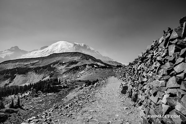 SKYLINE TRAIL MOUNT RAINIER WASHINGTON BLACK AND WHITE