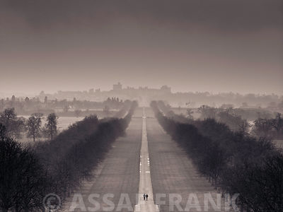 England, Berkshire, Aerial view of two people walking on long path with windsor castle in background