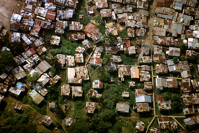 HOLLYWOOD, PANAMA CITY, PANAMA - 1996 - Aerial view of the Hollywood shanty town slums