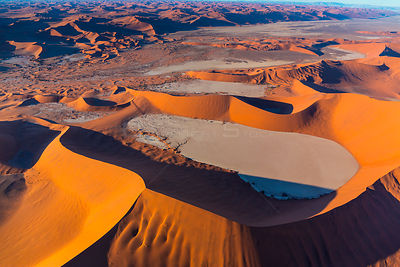 Aerial view of Deadvlei with sand dune habitat, Namib-Naukluft National Park, Namibia