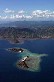 Hoazil island and Grande Terre, aerial view, Mayotte, Indian Ocean