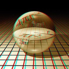 Anaglyph of a sphere with equations for area and volume