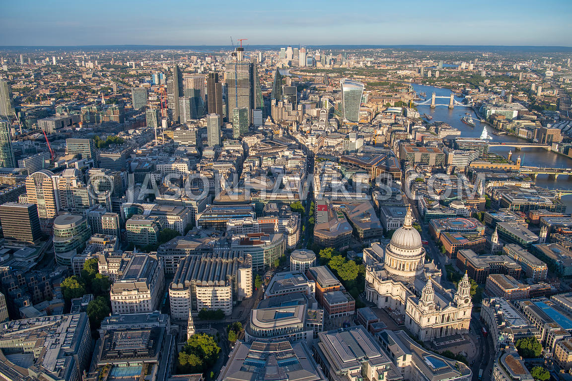London, aerial view of the City of London