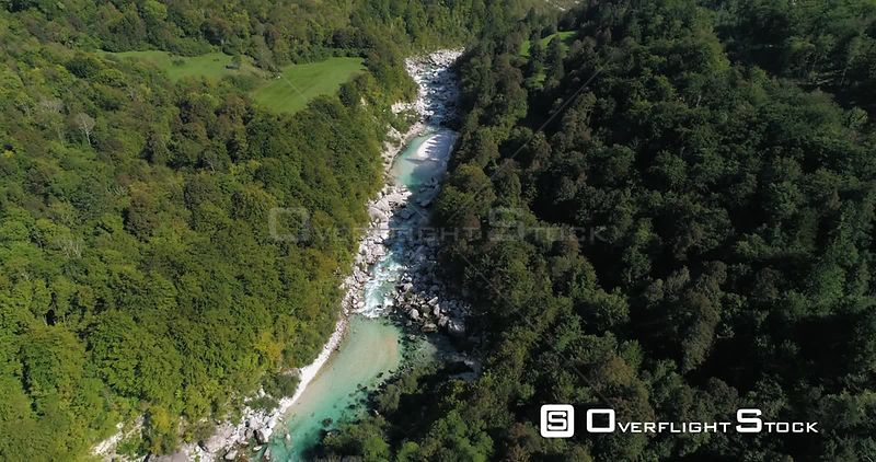 Mountain rapids, C4K aerial drone view above a turquoise soca river, near Trigolov national park, on a sunny summer day, in t...