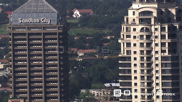 Aerial shot of the Sandton City building and the Michelangelo Hotel in Sandton, Johannesburg Johannesburg Gauteng South Africa