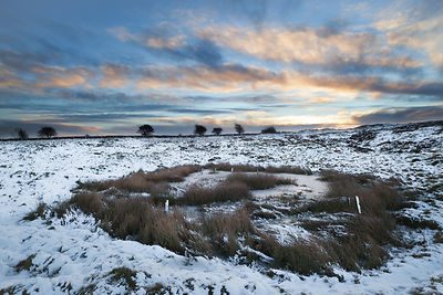 Snowy pond on Longstone Moor