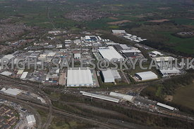 Crewe Industrial Park wide angle view across Weston road