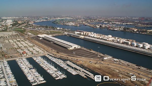 Over Marina and Docks in Los Angeles Harbor.