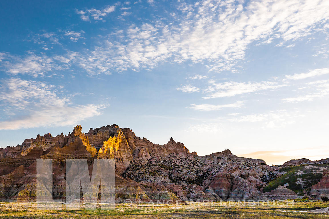 Morning sun falling on mountain in Badlands National Park