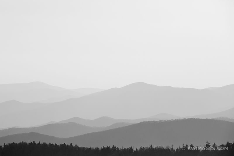 VIEW FROM CLINGMANS DOME SMOKY MOUNTAINS RIDGES BLACK AND WHITE