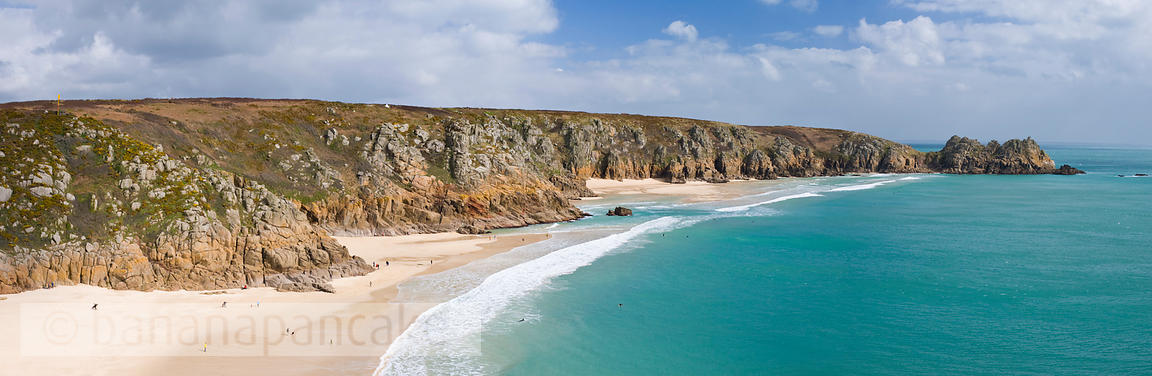 Panoramic view of the Logan Rock and Porthcurno beach, Cornwall - BP0960