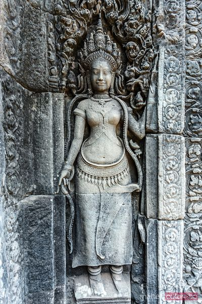 Ancient stone bas relief, Angkor Wat, Cambodia