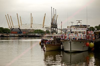 Boats Gathering for the River Pageant in front of the O2 Arena