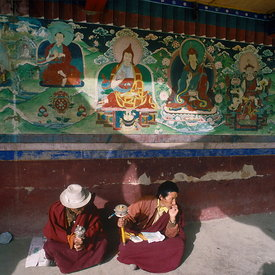 Lama and acolyte, Samye Monastery