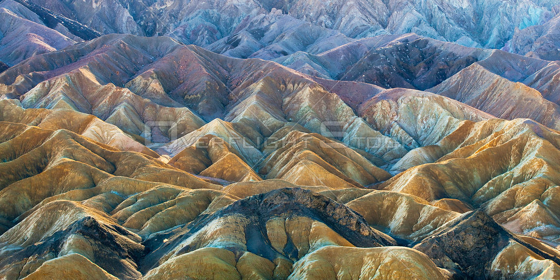 Aerial view of the colourful hills of Twenty Mule Team canyon seen after a period of heavy rain under warm afternoon sunlight...