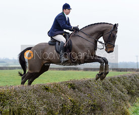 Cindy Henson jumping a hedge on Greenall's