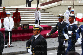 Members of the Bolivian navy parade past the remains of Eduardo Abaroa, Plaza Avaroa, La Paz, Bolivia