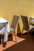 Tables And Chairs At A Restaurant, Boccadasse