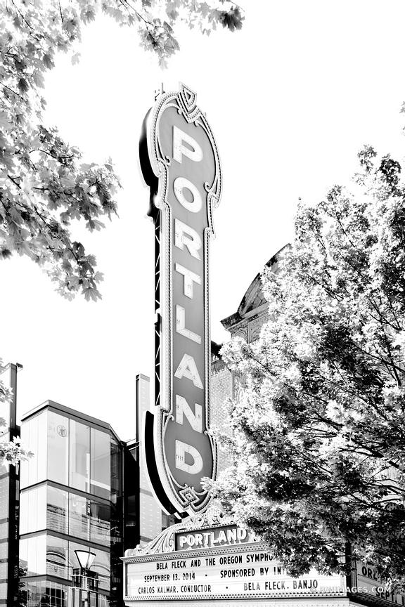 PORTLAND THEATRE SIGN DOWNTOWN PORTLAND OREGON BLACK AND WHITE VERTICAL