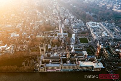 Aerial view of the Parliament and Westminster abbey