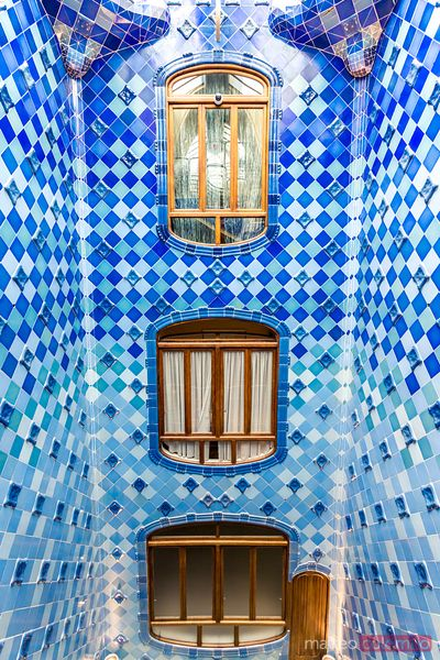 Central light well of Casa Batllo bu Gaudi, Barcelona, Spain