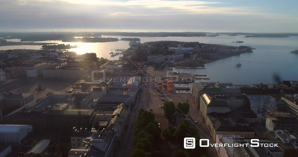 Helsinki City, Aerial Descending View of Kauppatori Market Square, the South Harbour and Katajanokka Bay, on a Sunny Summer M...