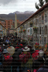 Crowds of people in cemetery for Todos Santos festival, La Paz, Bolivia