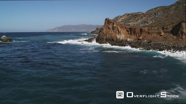 Along the Catalina Coastline, Dramatic Low Flight Over Surf-washed Rock Formations.