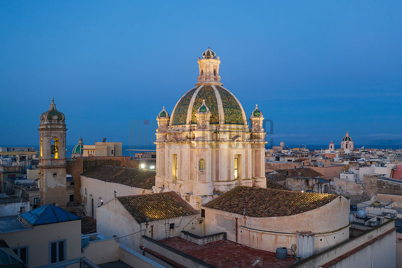 Elevated View of Cattedrale di Trapani Parrocchia San Lorenzo Martire at Dawn