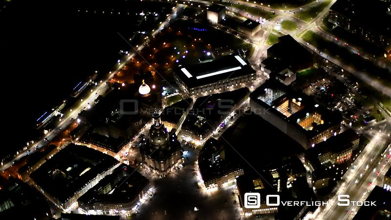 Night aerial video Old Town area and inner city center in Dresden in the state of Saxony, Germany