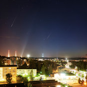 Ten perseids above the city of Lahti in Southern Finland on August 12 2016. Composite image.