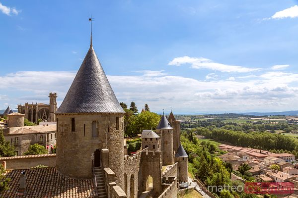 View from the old city, Carcassonne, Aude, France