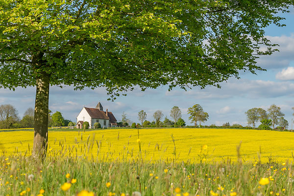 St Hubert's Church in Idsworth, Hampshire, with rapeseed in bloom