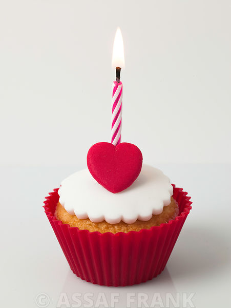 Cupcake with heart and a birthday candle