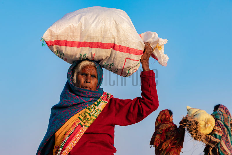 Bihari Woman Carrying a Load on her Head
