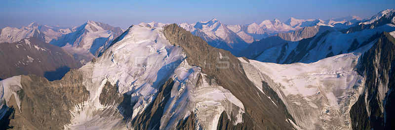 Aerial view of St Elias mountains, Kluane NP, Yukon, Canada