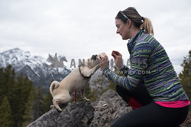 Pug high fiving woman on mountain top