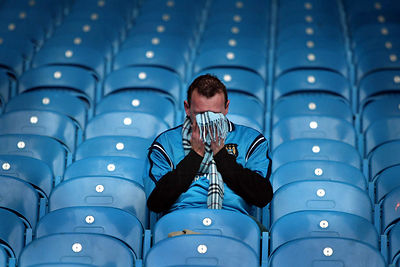 A Manc City fan in the stands