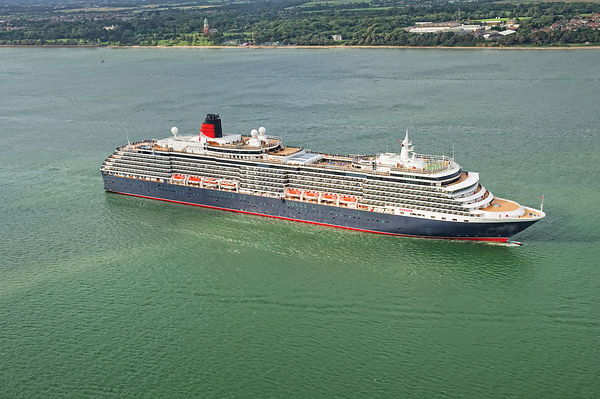 Aerial View of Cunard's Queen Victoria Leaving Southampton