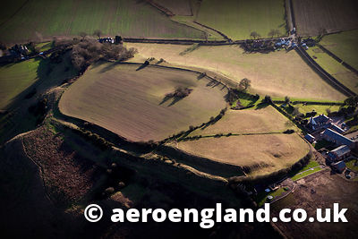 aerial photograph of Eddisbury Iron age hillfort Cheshire England UK