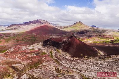 Aerial drone view of Lava field and volcano, Snaefellsnes, Iceland