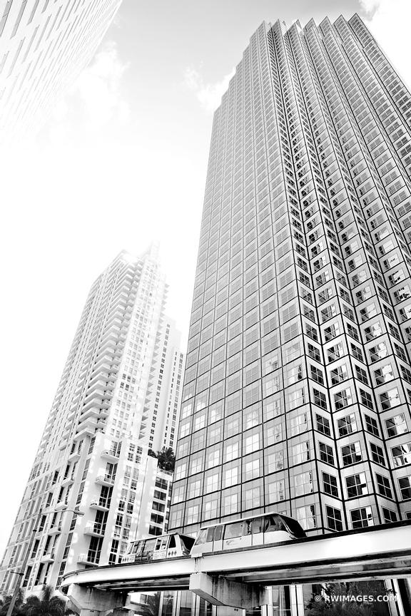 METROMOVER AND HIGHRISE BUILDINGS DOWNTOWN MIAMI FLORIDA BLACK AND WHITE