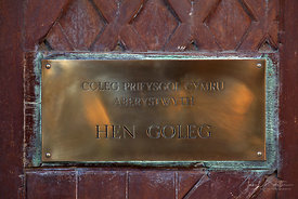 Name plate, Old College, Aberystwyth