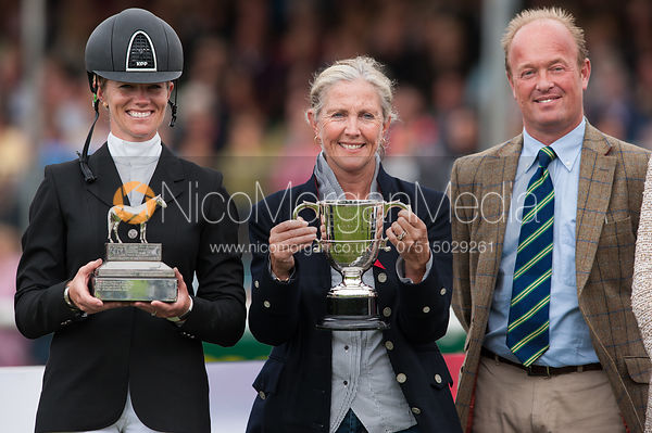 Sinead Halpin and Manoir De Carneville's owner Bernadette Cogdell - prizegiving ceremony - Land Rover Burghley Horse Trials 2...