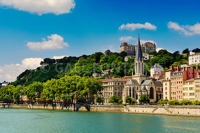 Church of Saint Georges and Saone river, Lyon, France