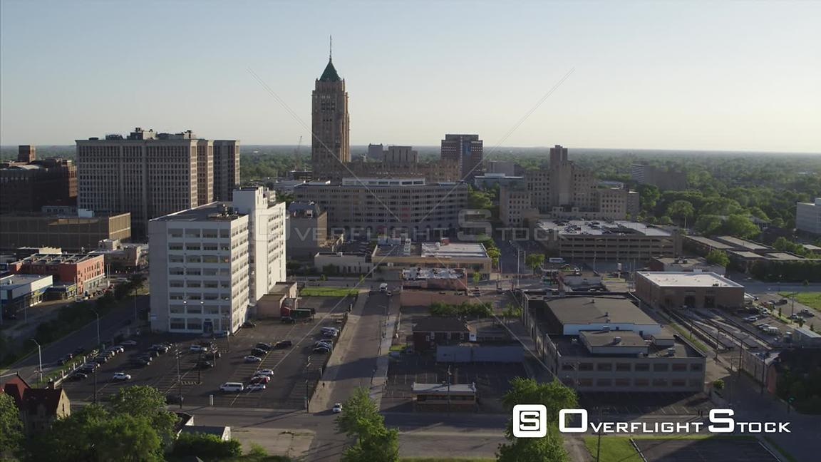 Drone Video Suburban and Commercial . Fisher Buillding Detroit Michigan