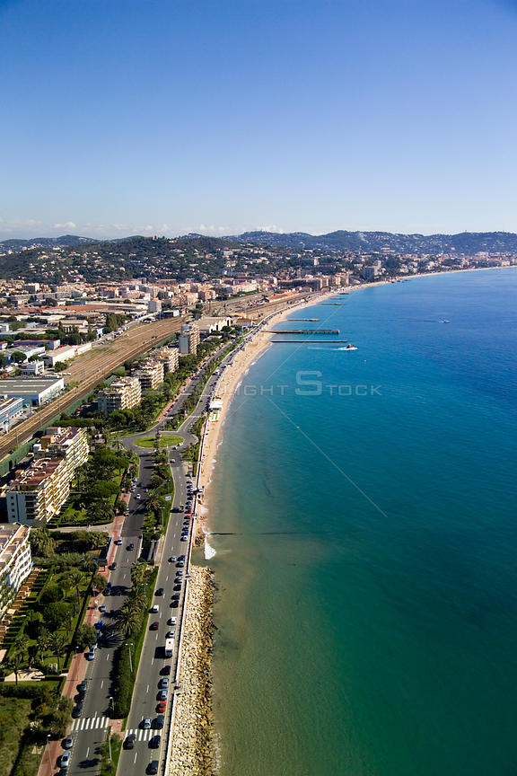 Aerial view of the road that runs along the coast of Cannes, on the French Riviera.